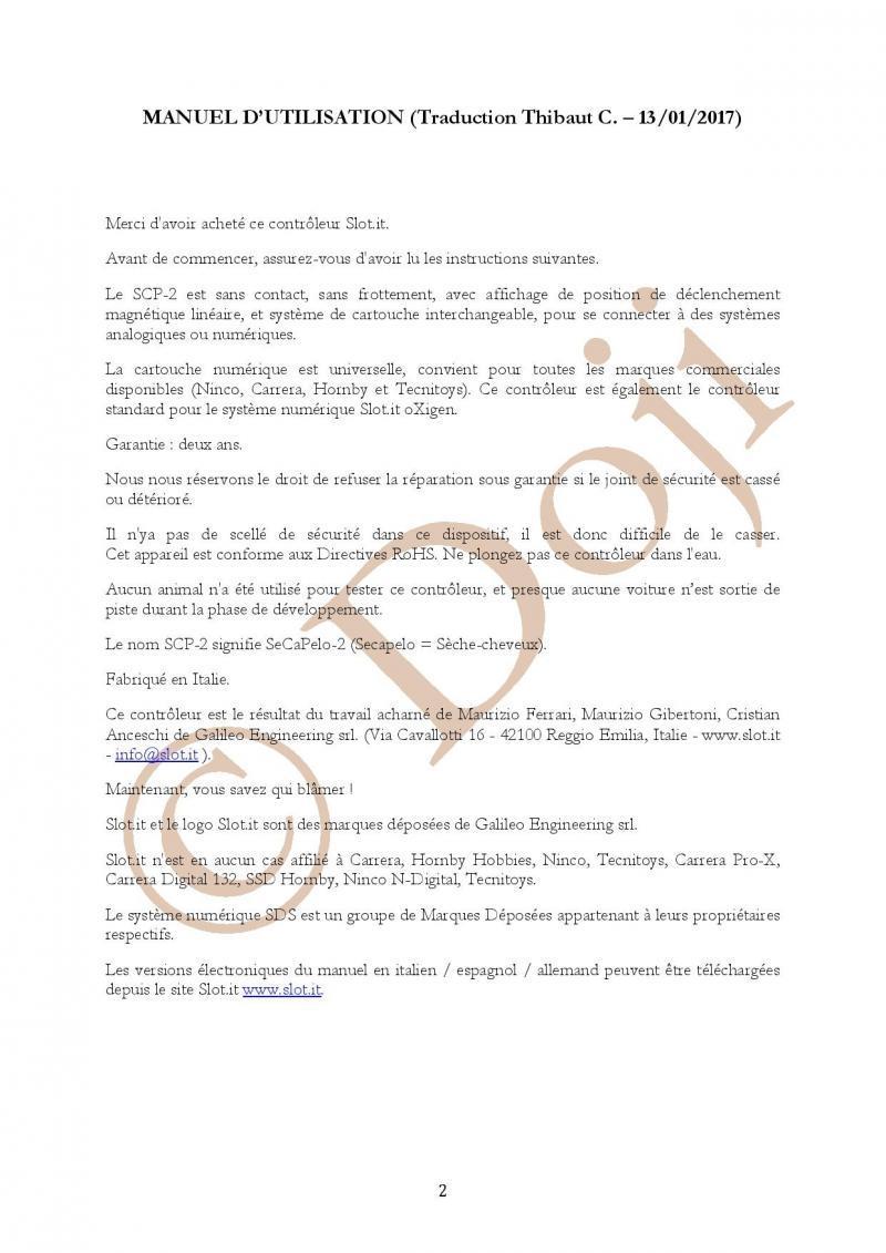 Manuel en français Poignée SLOT IT SCP-2 page 2/23